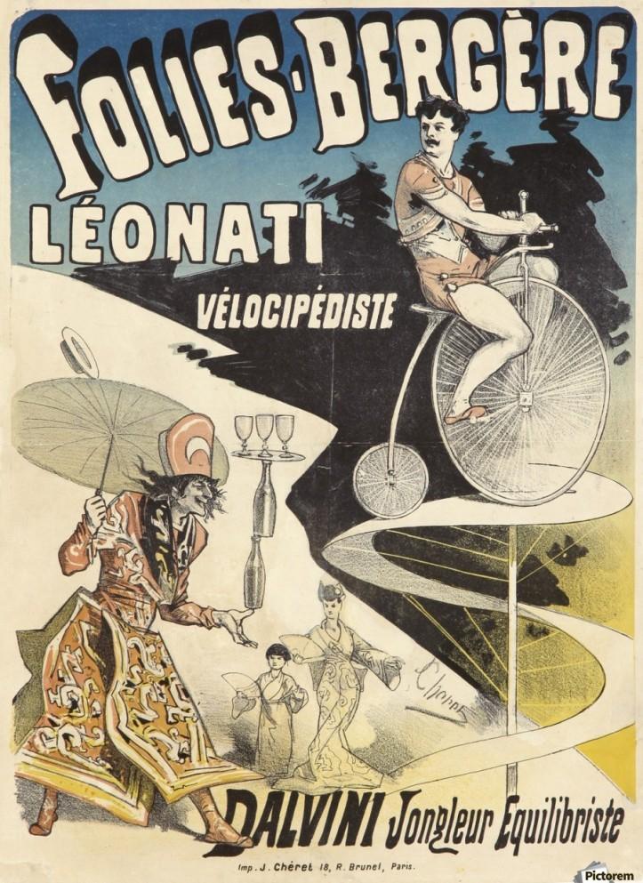 Folies Bergere Leonati Velocipediste poster by Jules Cheret, 1880